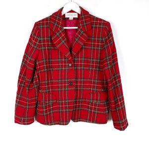 Vintage Jones New York Red Plaid Wool Blazer 12